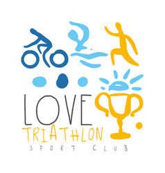 love triathlon sport club logo colorful hand vector image