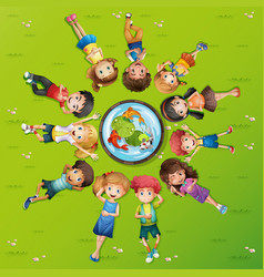 many kids on green grass vector image vector image