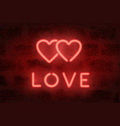 neon love sign on the wall illuminated hearts vector image