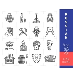 Russian culture black thin line icons Russia vector image vector image