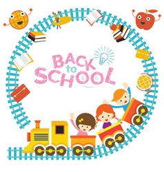 School Train Kids Frame vector image vector image