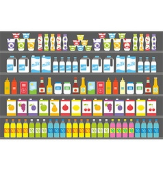 Shelves with products and drinks vector