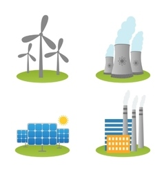 Solar windmills and nuclear power plants icons vector
