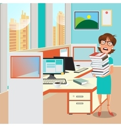 Stressed Business Woman with Documents in Office vector image vector image