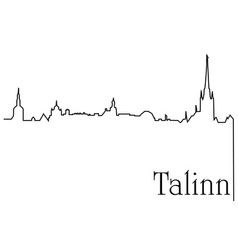 Talinn city one line drawing background vector
