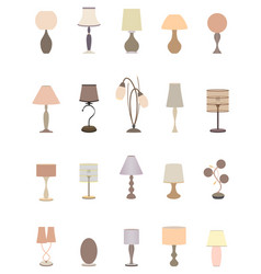 twenty pastel colors elegant lamps collection for vector image