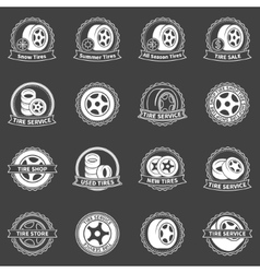 White tire emblems or badges vector