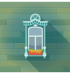 with a vintage window and the wooden wall vector image vector image