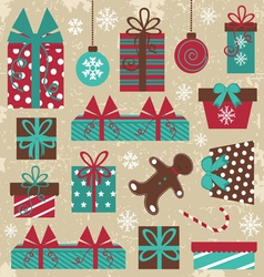Christmas vintage set vector