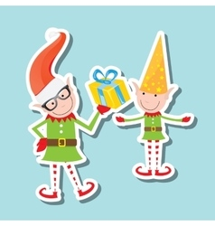 The playful santa elves vector