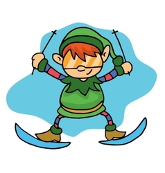 Happy elf skiing christmas theme vector