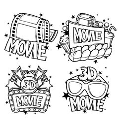 Cinema and 3d movie advertising designs in cartoon vector