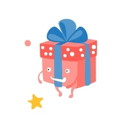 Wrapped gift box with ribbon children birthday vector