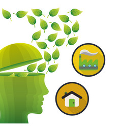 Head think green environment house factory vector