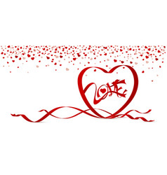 Love concept of red heart shape ribbon vector