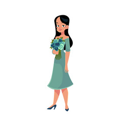 Beautiful woman girl bride with long black hair vector