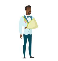 Injured groom with broken arm vector