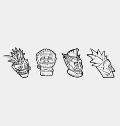 hand drawn totem face symbol set vector image
