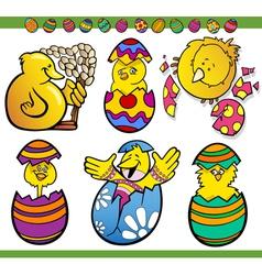 easter chicks set cartoon vector image
