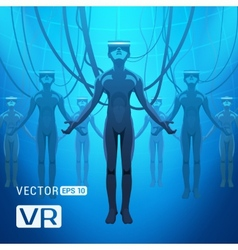 Men in a virtual reality helmet vector