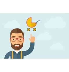 Man pointing the baby stroller icon vector