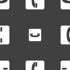Handset icon sign seamless pattern on a gray vector