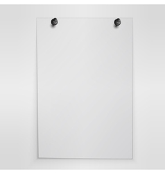 Blank white poster hanging on wall vector
