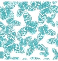 Seamless pattern with vintage blue butterfly vector
