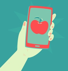 Hand holding a phone with an apple inside vector