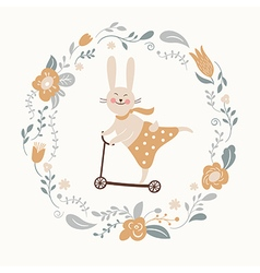 Cute bunny rides by cycle vector