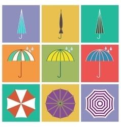 Umbrella icons in flat style vector