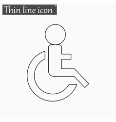 Wheelchair handicap icon style thin line vector