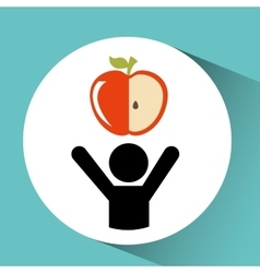 person and apple vector image