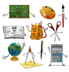 Back to school items cartoon characters vector image vector image