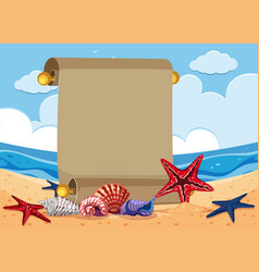 Banner template with starfish on the beach vector