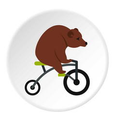 Bear on a bike icon circle vector