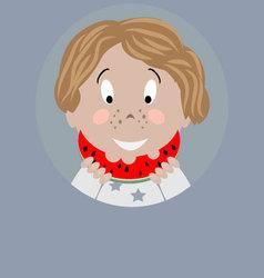 Boy with watermelon icon vector image