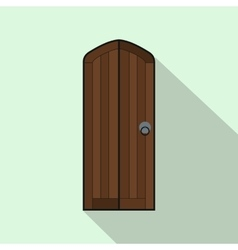 Brown arched wooden door icon flat style vector