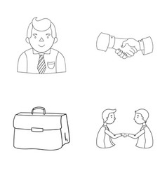 Businessman handshake portfolio agreement vector
