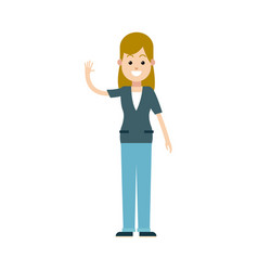 character blonde woman female waving hand vector image