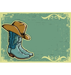 Cowboy boots image with grunge background vector image vector image