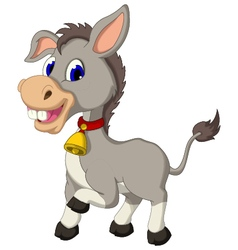 Cute donkey cartoon posing vector