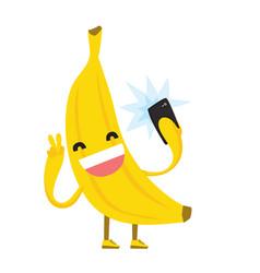 Cute kawaii yellow banana making selfie photo vector