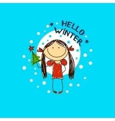 emblem with a fun girl Christmas Holidays vector image vector image
