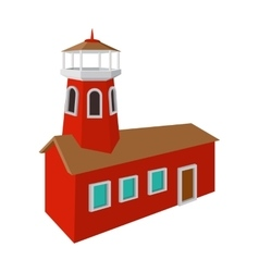 Fire station with red high tower cartoon icon vector