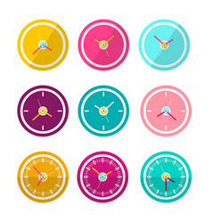 flat design clock faces set isolated on white vector image vector image