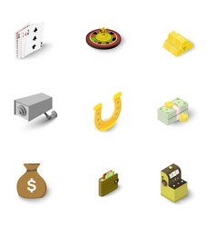 Gambling icons set isometric style vector