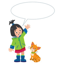 Girl and kitten with balloon for text vector