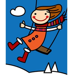 Girl on a swing at winter vector image