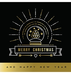 Gold Christmas New Year line art snow globe card vector image vector image